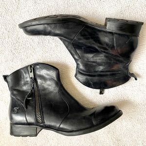 Black BORN Leather Moto Ankle Booties
